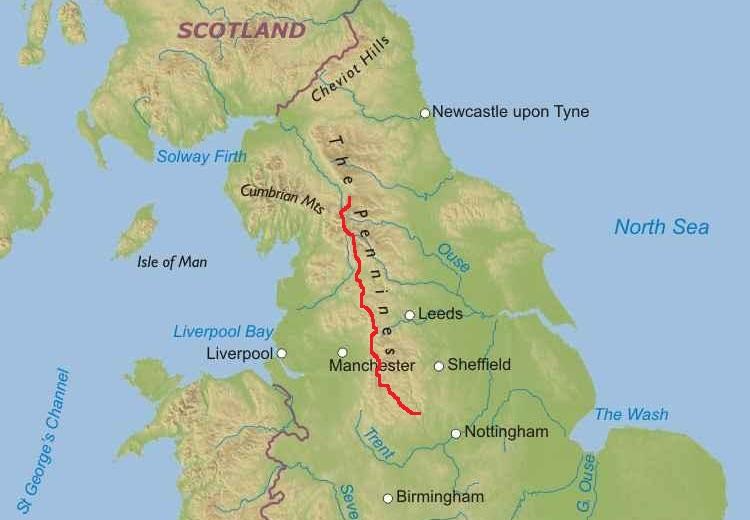 Pennine Bridleway Route Map