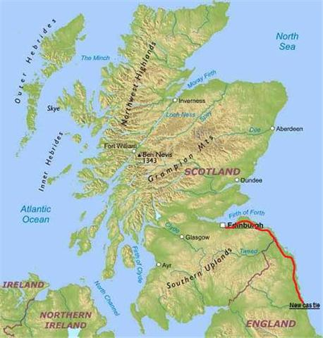 Coast and Castles route map